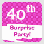 40th Surprise Birthday Party Pink Pattern Template Square Stickers