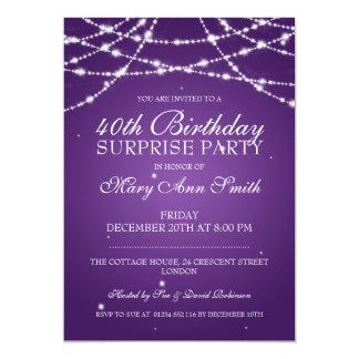40th Surprise Birthday Party String Stars Purple 13 Cm X 18 Cm Invitation Card