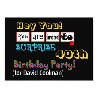 40th SURPRISE Birthday Party Template V01 Card