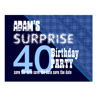 40th Surprise Birthday Save the Date Diagonal VB13 Post Cards