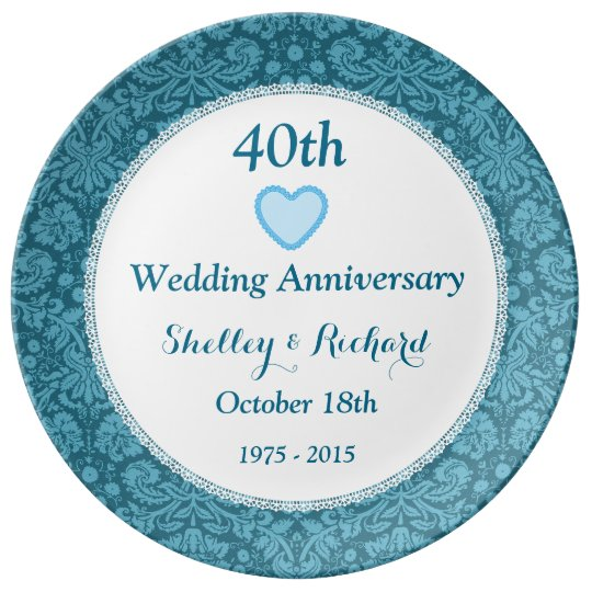 40th Wedding Anniversary Blue Damask and Lace H05C