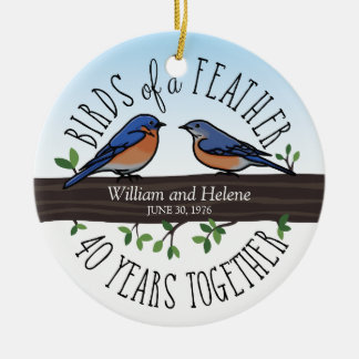 40th Wedding Anniversary, Bluebirds of a Feather Christmas Ornament
