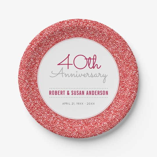 40th Wedding Anniversary Faux Red Glitter 7 Inch