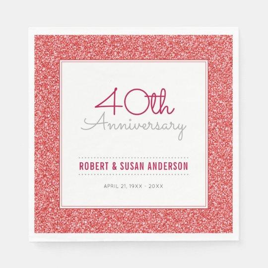 40th Wedding Anniversary Faux Red Glitter Paper Napkin