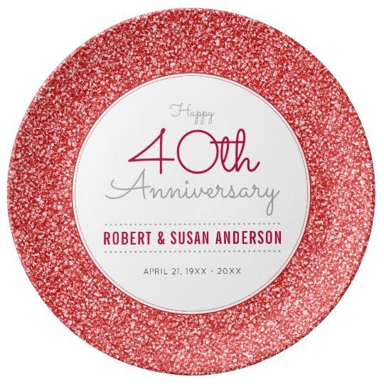 40th Wedding Anniversary Faux Red Glitter Plate