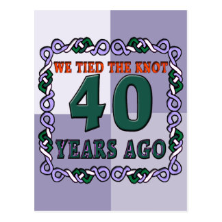 40th Wedding Anniversary Gifts Postcard