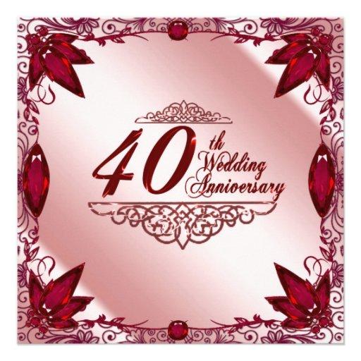 40th Wedding Anniversary Invitation 13 Cm X 13 Cm Square