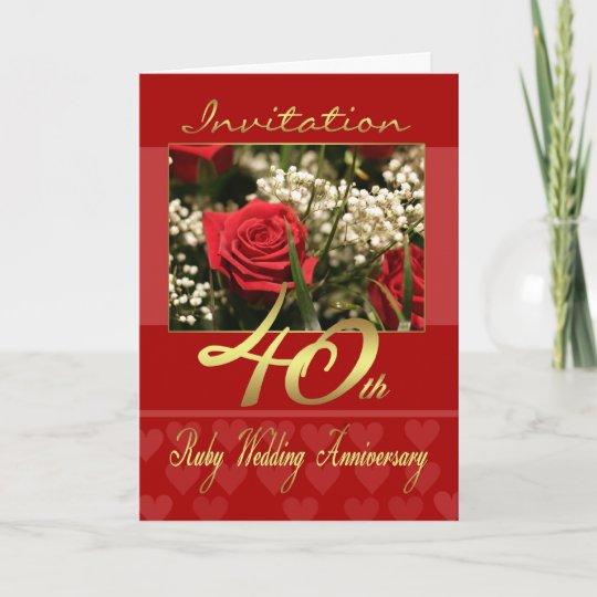 40th wedding anniversary invitation card ruby we zazzle 40th wedding anniversary invitation card ruby we stopboris Choice Image