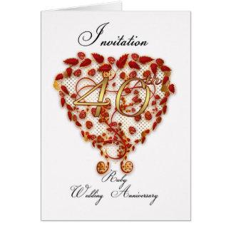 40th wedding anniversary invitation card - ruby we