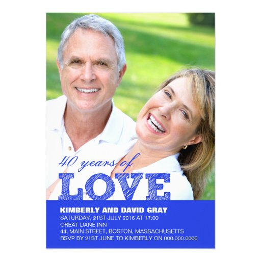 40th Wedding Anniversary Invitation in Blue