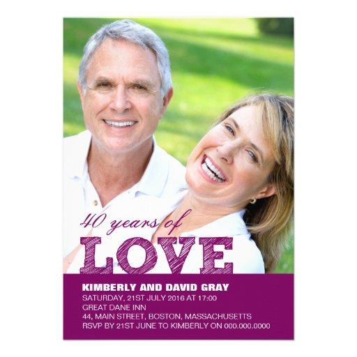 40th Wedding Anniversary Invitation in Purple