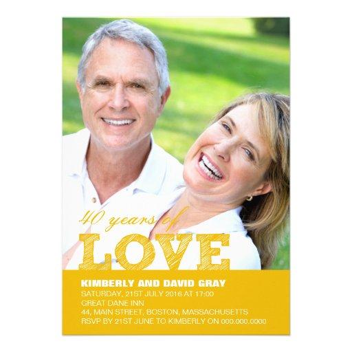 40th Wedding Anniversary Invitation in Yellow