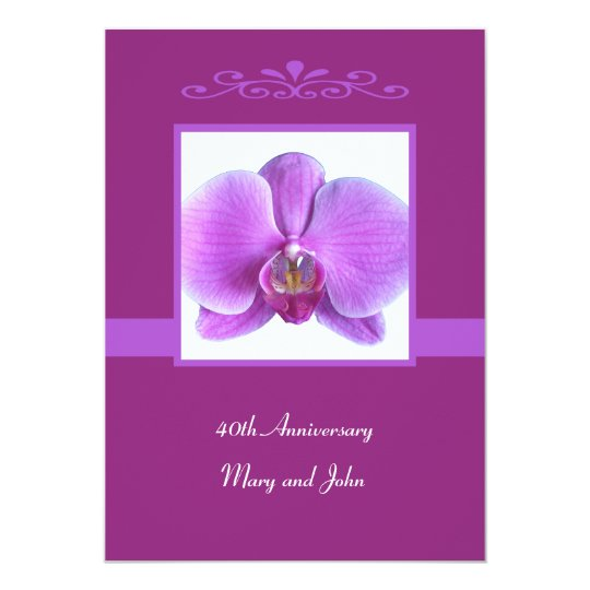40th Wedding Anniversary Invitation Orchid Invite