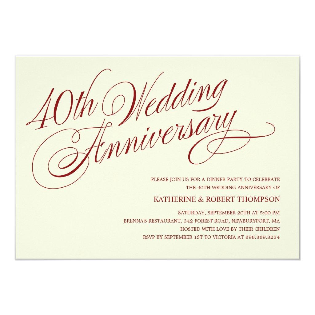 40th Wedding Anniversary Invitations