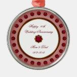 40th Wedding Anniversary Ornament