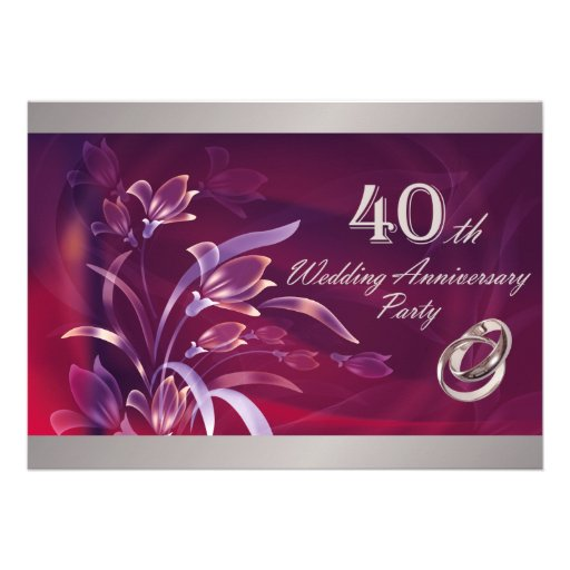 40th Wedding Anniversary Party Invitations