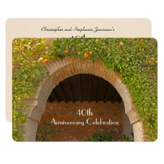 40th Wedding Anniversary Party Rustic Arch Oranges Invitation