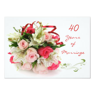 40th Wedding Anniversary.  Roses and lilies 13 Cm X 18 Cm Invitation Card