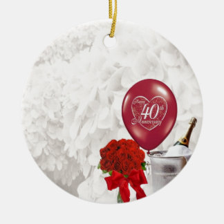 40th Wedding Anniversary Round Ceramic Decoration