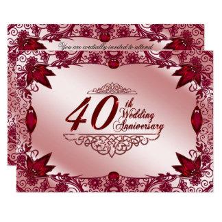 40th Wedding Anniversary RSVP 9 Cm X 13 Cm Invitation Card