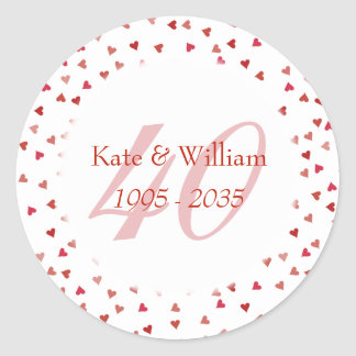 40th Wedding Anniversary Ruby Hearts Confetti Classic Round Sticker