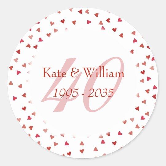 40th Wedding Anniversary Ruby Hearts Confetti Classic Round