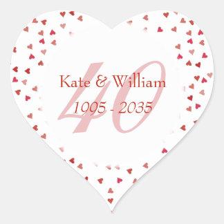 40th Wedding Anniversary Ruby Hearts Confetti Heart Sticker