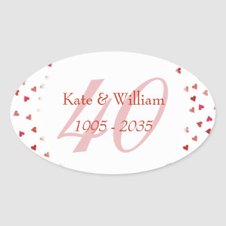 40th Wedding Anniversary Ruby Hearts Confetti Oval Sticker