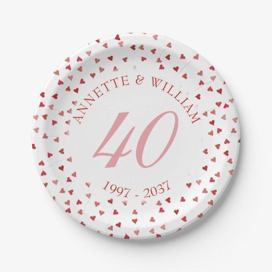 40th Wedding Anniversary Ruby Hearts Confetti Paper Plate