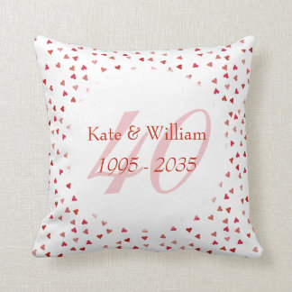 40th Wedding Anniversary Ruby Hearts Confetti Throw Pillow