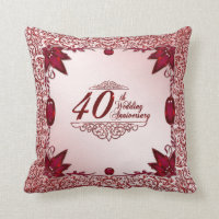 40th Wedding Anniversary Pillow