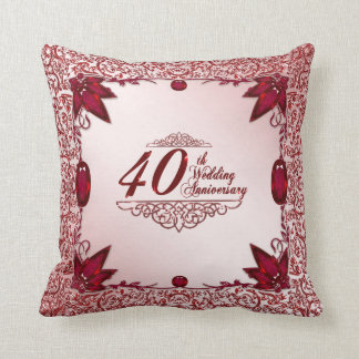 40th Wedding Anniversary Throw Pillow Cushions