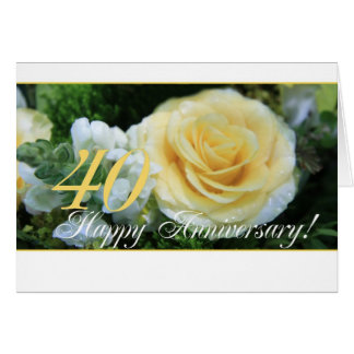 40th Wedding Anniversary - Yellow Rose Greeting Card