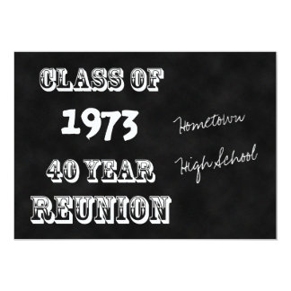 40th Year Class Reunion Chalkboard 13 Cm X 18 Cm Invitation Card