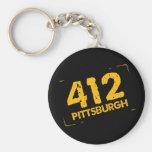 412 Pittsburgh Basic Round Button Key Ring