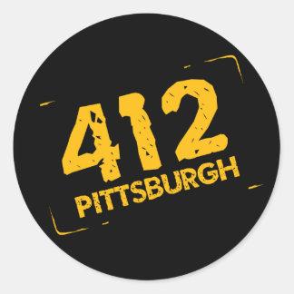412 Pittsburgh Round Sticker