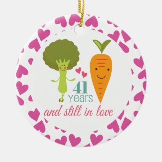 41st Anniversary Cute Couples Ornament