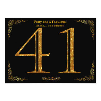 41st Birthday party,Gatsby styl,black gold glitter Card