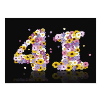 """41st Birthday party, with flowered letters 5"""" X 7"""" Invitation Card"""