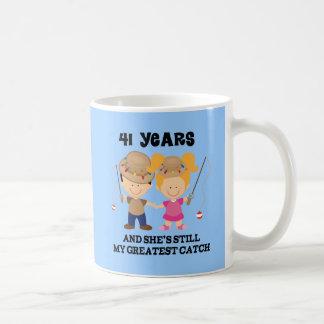 41st Wedding Anniversary Gift For Him Basic White Mug
