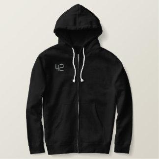 42 Black Embroidered Hoodie