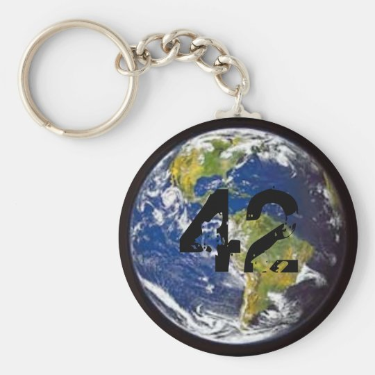 42 - Earth Basic Round Button Key Ring