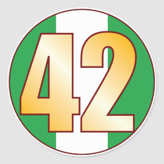 42 NIGERIA Gold Classic Round Sticker