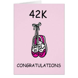 42K marathon congratulations for female. Card