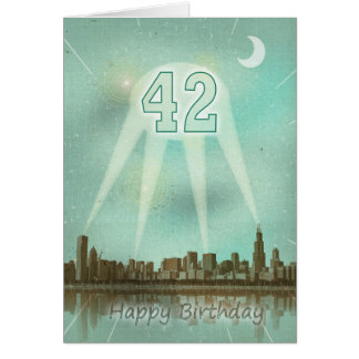 42nd Birthday card with a city and spotlights