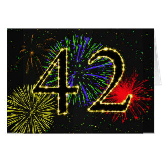 42nd Birthday card with fireworks