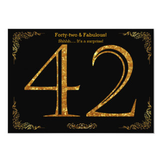42nd Birthday party,Gatsby styl,black gold glitter 13 Cm X 18 Cm Invitation Card