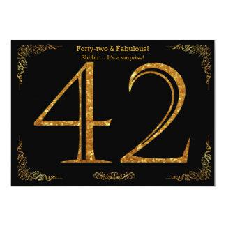 42nd Birthday party,Gatsby styl,black gold glitter Card