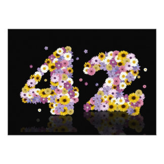 42nd Birthday party with flowered letters Invite