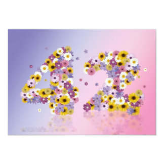 """42nd Birthday party, with flowered letters 5"""" X 7"""" Invitation Card"""